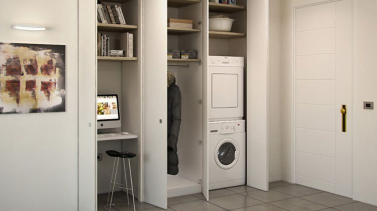 La lavanderia scompare con i sistemi rasoparete for La piccola cabina progetta le planimetrie